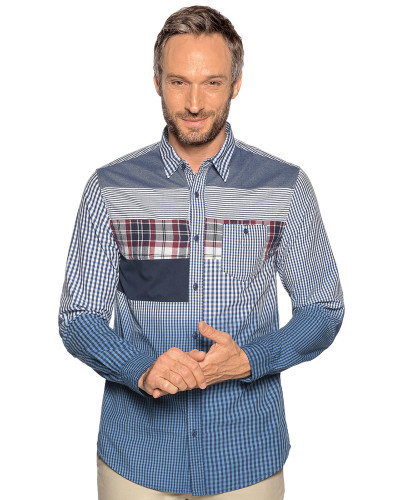Langarm Hemd Regular Fit blau/weiß kariert