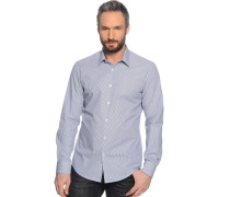 Hemd Custom Fit, weiß/navy gestreift, Herren