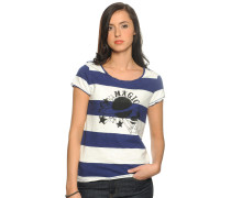 T-Shirt Short Sleeve Striped, combo, Damen