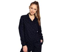 Pyjamaoberteil, Blau, Damen