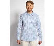 Langarm Hemd Custom Fit blau/weiß/neonorange