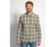 Langarm Flanellhemd Custom Fit gelb/blau