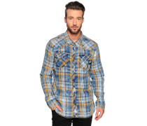 Hemd Custom Fit, curry/blau, Herren