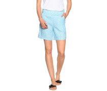 Shorts aus Leinen, weiß/türkis, Damen