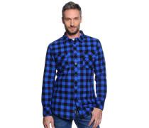 Flanellhemd Regular Fit, blau/schwarz/kariert, Herren