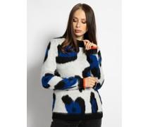 Pullover weiß/schwarz/blau