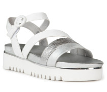 Sandalen silber/weiß