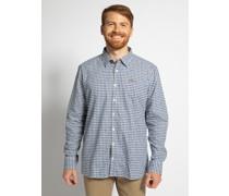 Langarm Flanellhemd Custom Fit blau/weiß