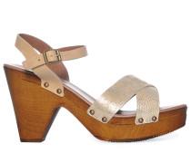 Sandaletten, hellbraun/gold, Damen