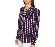 Langarm Bluse lila/weiß