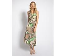 Kleid beige/grün/schwarz