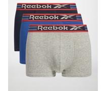 Boxershorts 3er Set grau meliert/blau/navy