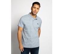 Kurzarm Poloshirt blau meliert