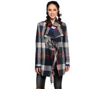 Mantel, blau/weiß kariert, Damen