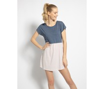 Kleid blaugrau/weiß/lila