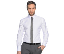 Hemd Slim Fit + Krawatte, Weiss, Herren
