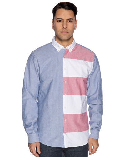 Langarm Hemd Regular Fit hellblau/weiß/rot