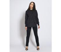 Langarm Bluse schwarz/weiß/mauve