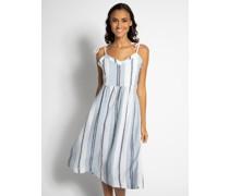 Leinenkleid weiß/hellblau