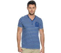 T-Shirt, blau/weiß gestreift, Herren