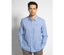 Langarm Hemd Custom Fit blau/weiß