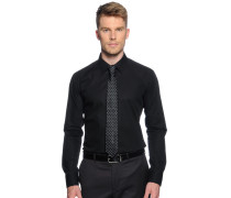 Hemd Slim Fit + Krawatte, schwarz, Herren