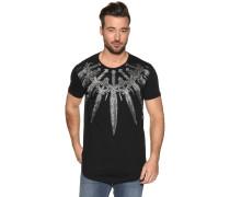 T-Shirt mit Frontprint Schwert, Schwarz, Herren