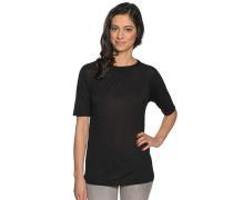 T-Shirt mit Seide, Schwarz, Damen