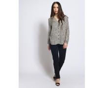 Langarm Bluse schwarz/grau
