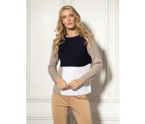 Pullover navy/braun/weiß
