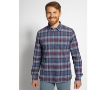 Langarm Hemd Custom Fit blau/rot