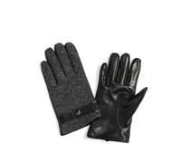Handschuhe mit Lederbesatz, anthrazit, Damen