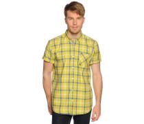 Kurzarmhemd Slim Fit, gelb/blau kariert, Herren