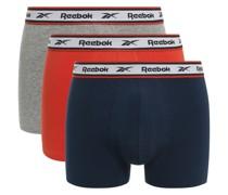 Boxershorts 3er Set grau/rot/navy