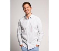 Langarm Hemd Slim Fit weiß/blau
