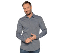 Langarm Hemd Slim Fit navy/weiß