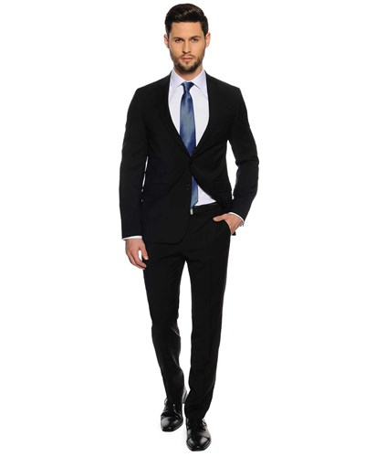 Huugho, Super Slim Fit, schwarz, Herren