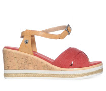 Wedges, rot/braun, Damen
