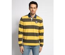 Langarm Poloshirt oliv/gelb