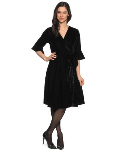 Wickelkleid aus Samt schwarz