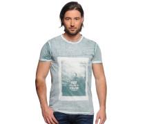 T-Shirt, grün/weiß, Herren