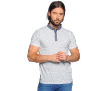 Poloshirt, weiß/grau, Herren