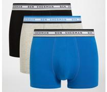 Boxershorts 3er Set shwarz/grau/blau