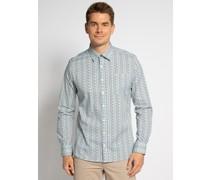 Langarm Hemd Custom Fit weiß/blau/grün