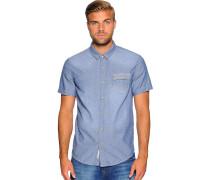 Kurzarmhemd Custom Fit, blau, Herren