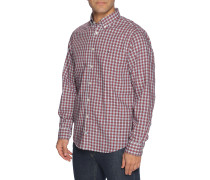 Langarm Hemd Regular Fit rot/weiß