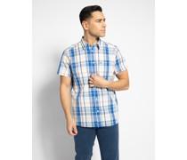 Kurzarmhemd weiß/blau