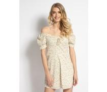 Kleid lindgrün/koralle/weiß