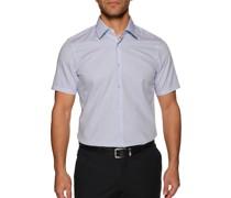 Kurzarmhemd Slim Fit weiß/blau