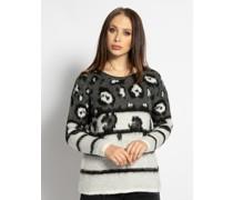 Pullover weiß/grau/schwarz